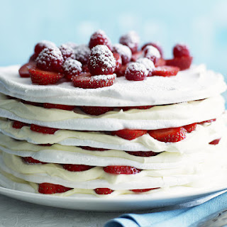 Strawberries and Cream Meringue Cake
