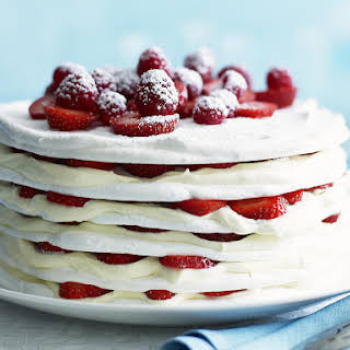 Strawberries and Cream Meringue Cake.