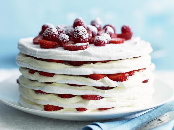 Strawberries and Cream Meringue Cake Recipe