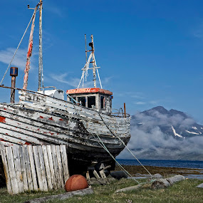Getting Old by Þorsteinn Ásgeirsson - Transportation Boats ( old, sky, mountain, wood, sea, beach, antique, oak boat )