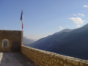 Photo: The French flag flies at the very top.