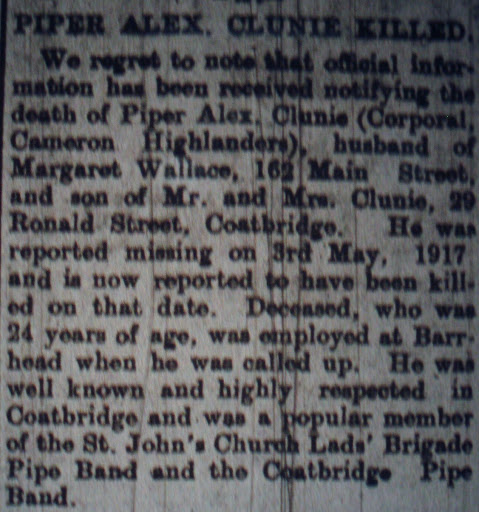 Alexander Drylie Clunie newspaper clipping