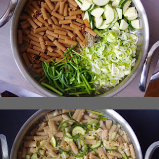 One Pot Pasta with Zucchini, Garlic Scapes, and Leeks in a White Wine Lemon Sauce Recipe