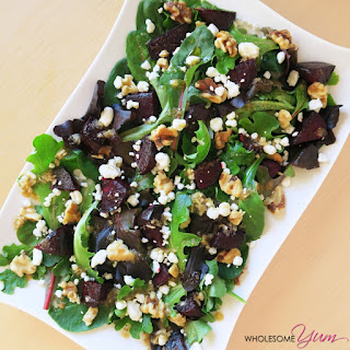 Quick Roasted Beet Salad with Goat Cheese (Low Carb, Gluten-free).