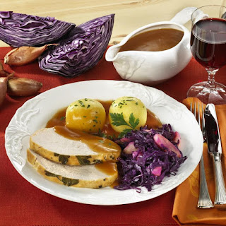 Roast Turkey Breast with Braised Apple Cabbage