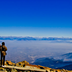 Lone Observers by Sudipto Ghosh - Landscapes Mountains & Hills ( photographiing, hill, edge, mountain, blue, lonely observer, watchin, people, hill top )