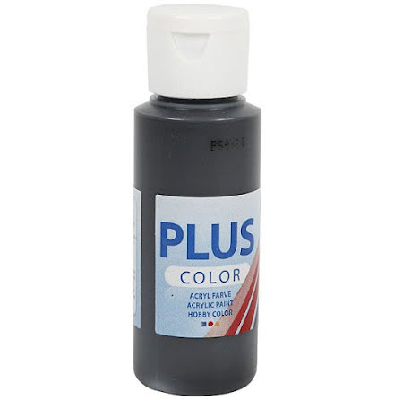 Hobbyfärg Plus color - svart, 60 ml
