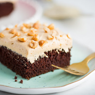 Chocolate Cake with Honey-Roasted Peanut Butter Frosting.