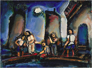 Photo: Title: Christ and the Fisherman Artist: Georges Rouault Medium: Oil on paper mounted on masonite panel Size: 36.8 x 48.9 cm Date: 1937 Location: Fine Arts Museums of San Francisco http://iconsandimagery.blogspot.com/2009/07/christ-and-fisherman.html
