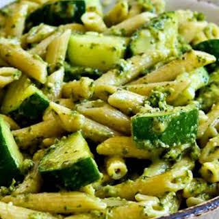 Easy Penne Pasta with Zucchini and Basil Pesto.