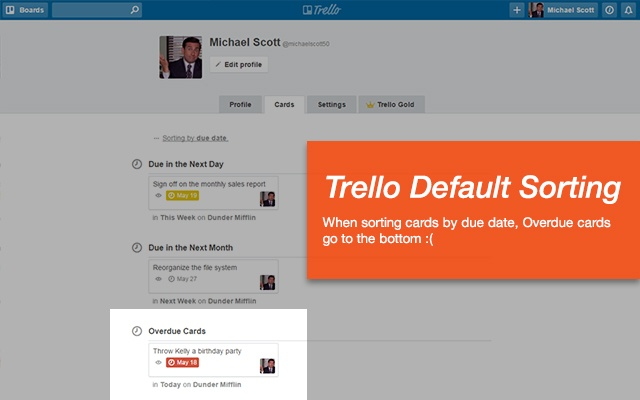 Overdue Trello Cards First