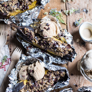 Oatmeal Chocolate Chunk Cookie Stuffed Campfire Bananas..