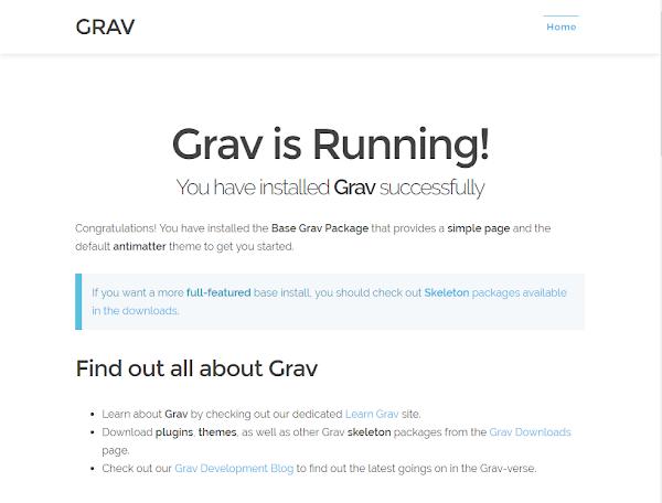 grav 設定終了画面