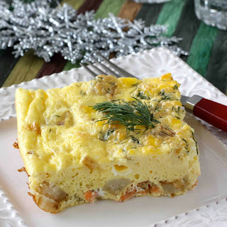 Smoked Salmon Egg Casserole with Potatoes and Dill.