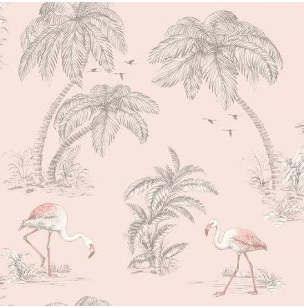 Flamingo tapet i puderrosa