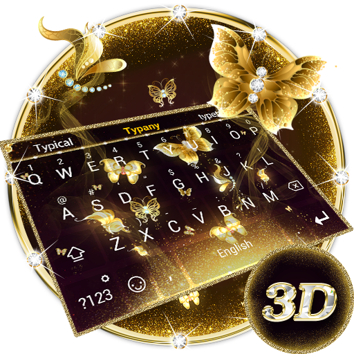 3D Golden Butterfly Theme&Emoji Keyboard