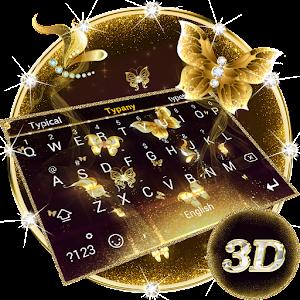 3D Golden Butterfly Theme&Emoji Keyboard
