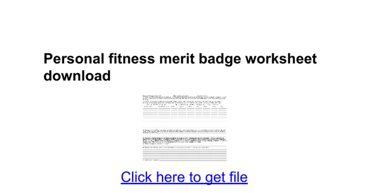 personal fitness merit badge worksheet download google docs