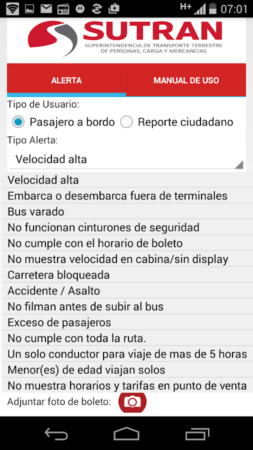 Alerta SUTRAN- screenshot