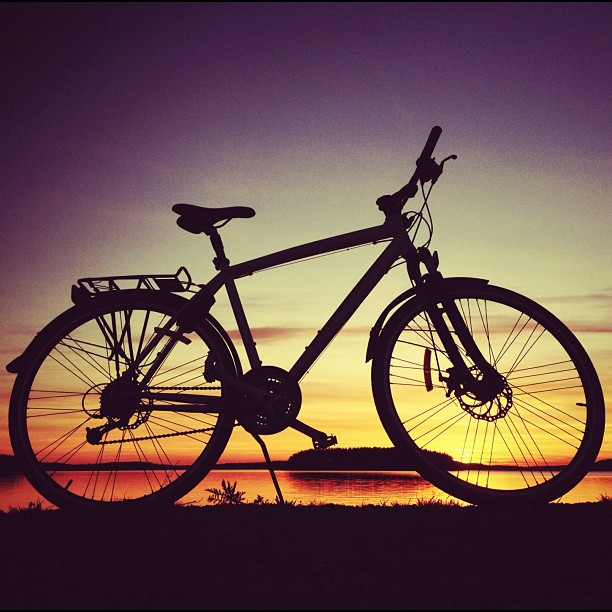 Helkama #bike #bicycle #lappeenranta  #sunset #saimaa #lake by Anssi Saviluoto - Instagram & Mobile Instagram