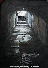 """Photo: """"Питерский проход"""" 2005г. О.Новиков  двп, масло, кисть, мастихин."""