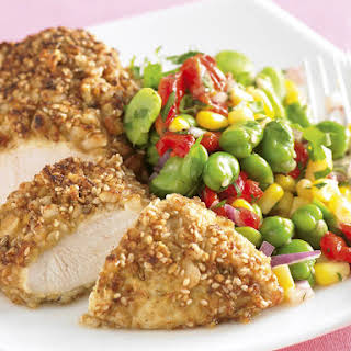 Macadamia Crusted Chicken with Fava Bean Salad.