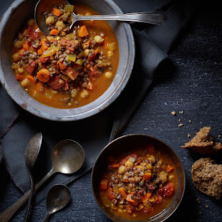 Curried Chickpea And Sprouted Lentil Soup