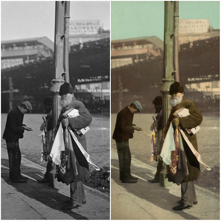 A street haberdashery, New York - before and after applying Photochrom