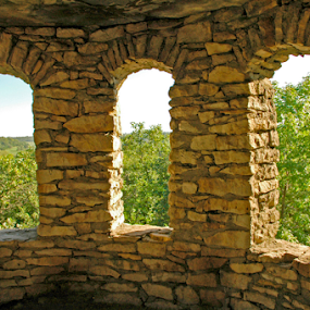 A Castles View by Gayle Mittan - Buildings & Architecture Decaying & Abandoned ( limestone, iowa, interior, arch, lookout, stone, clarks tower, historic, tower, window, hilltop, summer, castle, middle river valley, view, winterset, abandoned,  )