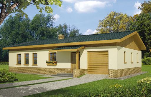 projekt Wojtek wersja C z pojedynczym garażem i wiatą