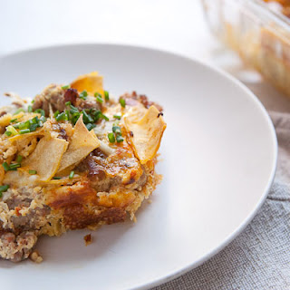 Sausage and Tortilla Breakfast Casserole.