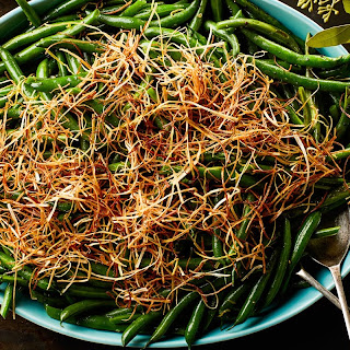 3-Ingredient Lemony Green Beans with Frizzled Leeks recipe | Epicurious.com.