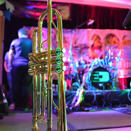 The Trumpet Awaits by Chuck Ruffin - Artistic Objects Musical Instruments ( gold, music, trumpet, instrument, brass, band )