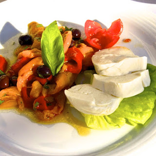 Fresh Buffalo Mozzarella with Roasted Peppers Appetizer