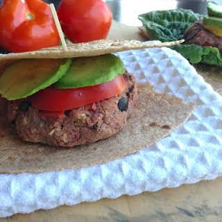 Mediterranean Bean Burgers on whole-grain tortilla.
