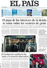 Photo: El pago de los intereses de la deuda se come todos los recortes de gasto y el Parlamento catalán da luz verde a la consulta soberanista, en la portada de la edición nacional del viernes 28 de septiembre de 2012 http://srv00.epimg.net/pdf/elpais/1aPagina/2012/09/ep-20120928.pdf
