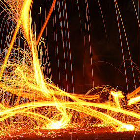 Dancing by Scott Valenzuela - Abstract Fire & Fireworks ( abstract, steel wool, action, night, sparks )