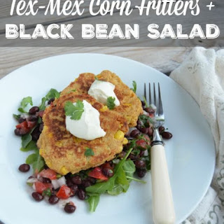 Tex-Mex Corn Fritters over Black Bean Salad