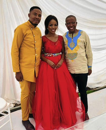 The newlyweds Tshepo Gavu and Mmatema Moremi with Julius Malema.