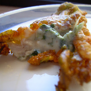 Zucchini Flowers Stuffed with Ricotta, Spinach, and Prosciutto Crudo