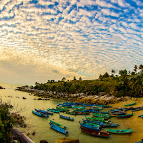 the cloud was great with sunrise by Gilang Franasia - Landscapes Sunsets & Sunrises ( clouds, indonesia, boats, beach, sunrise, landscape, , #GARYFONGDRAMATICLIGHT, #WTFBOBDAVIS )