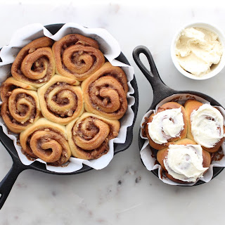 Skillet Cinnamon Buns with Cream Cheese Frosting