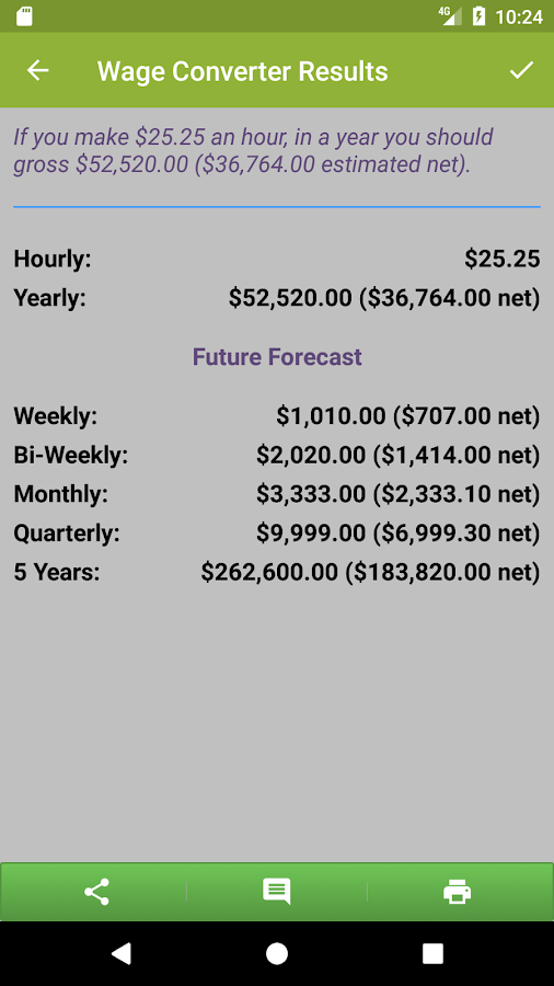 Paycheck Estimate- screenshot