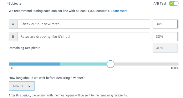 Constant Contact AB Testing feature.