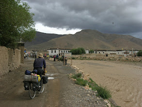 Photo: Arriving Tashi Dzom, one of the larger settlements along the road to Everest