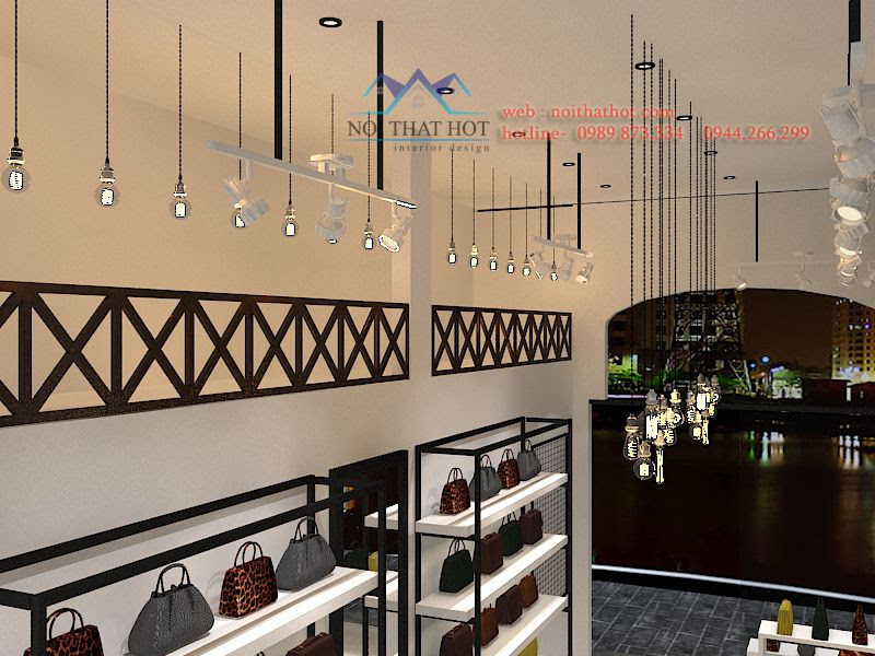 thiết kế cửa hàng túi xách và giày dép tại hà nội