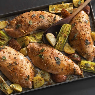 Brined Sheet-Pan Turkey with Leeks and Potatoes Recipe