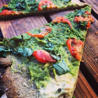 Chestnut flour crust pizza with cashew pesto sauce (Grain/Lactose/Gluten Free, Paleo).