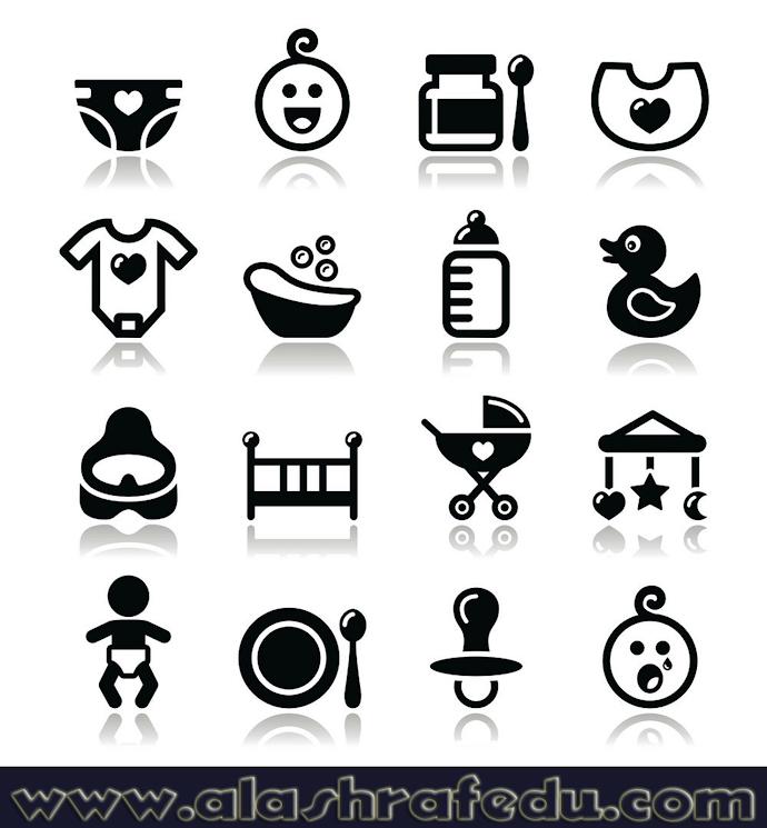 Baby Childhood Icons Isolated White yHNbTjXF-S24IaZUyxqf