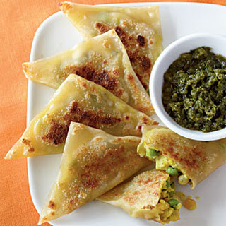 Curried Vegetable Samosas with Cilantro-Mint Chutney Recipe